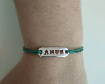 Leather Bracelet, decor AMOR / love, green, adjustable size.