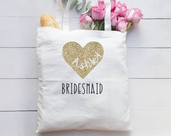 Personalized Heart/Bridesmaid/Tote Bag/Gold/Glitter Heart/Bridesmaid Gift/Maid of honor gift/shower gift/Birthday gift/teacher gift/wedding
