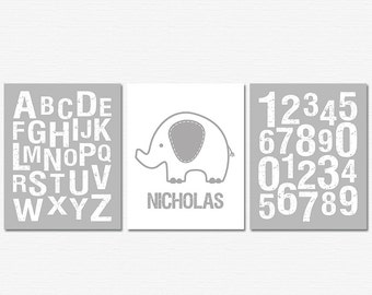 Grey and white Nursery Art Print Set, Baby wall art, children wall decor, personalized, elephant, alphabet, numbers, gray - UNFRAMED