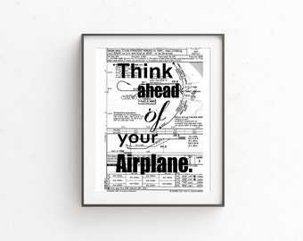 Aviator Desk Art, Airplane Decor, Aviation Decor, Map Art, Gifts for Him, Aviation Wall Art Quotes, Gift for Pilot, 5x7 Print, Mixed Media