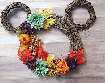 Mouse Ear inspired Autumn Wreath