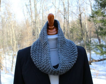 Gray Crochet Cowl, Charcoal Gray Crochet Cowl, Neckwarmer