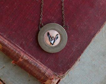 Bat- hand embroidered necklace, miniature, animal, flight