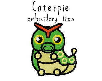 Pokemon Caterpie EMBROIDERY MACHINE FILES pattern design hus jef pes dst all formats Instant Download digital applique kawaii cute