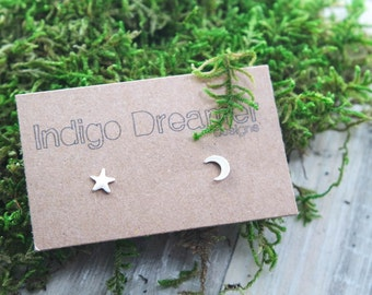 Crescent Moon studs | Star studs | Moon and Star studs | Moon Stud earrings | Silver Moon studs | Galaxy studs