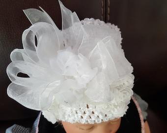 Embellished White Baby Hat