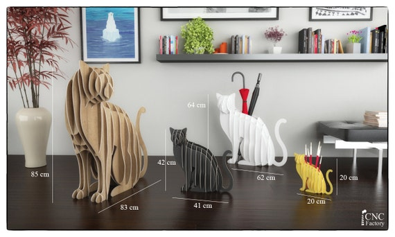 CAT UMBRELLA HOLDER Template cutting file Cat Unmbrella
