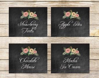 Printable Food Labels Editable INSTANT DOWNLOAD // Wedding // Bridal Shower // Vintage Floral // Rustic // Chalkboard