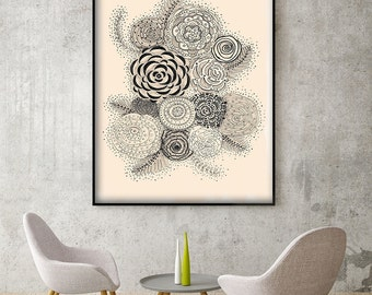 "Original Drawing - Flower Flowers. Black and white - 8.5x12"" up to 24x34"" Art Print, Wall Decor, Illustration"