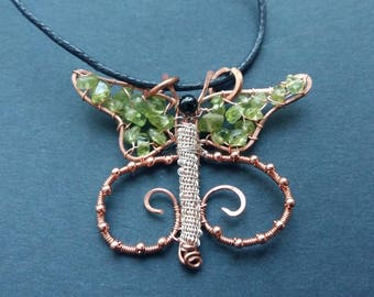 Hand crafted wire art butterfly healing pendant