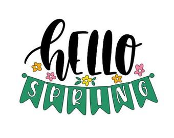 Hello Spring (banner) Vinyl Decal
