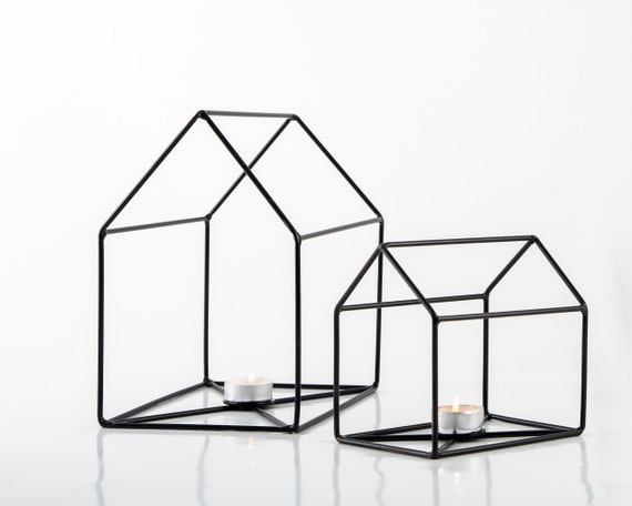 Wire House Candle Holders // Lanterns // Modern home decor //