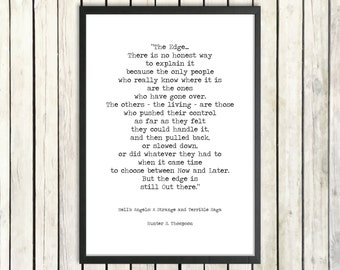 Hunter S. Thompson Printable Quote 'The Edge' Instant Download Vintage Typewriter Font Gonzo Journalism Hell's Angels Motorcycle Gang Print