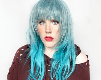 Blue wig | Long Blue wig, Scene Emo wig | Straight wig, Blue Scene wig, Cosplay wig | Snow Crush