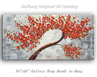 Original Oil Painting palette knife 3D Flowers Painting modern House Decor Canvas Wall Art Acrylic Painting Stretched Framed Ready to Hang