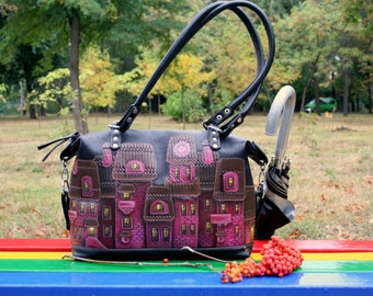 Leather bag shoulder bag black purple leather handbag top handle bag leather purse Hand-painted leather tote applique bag black leather