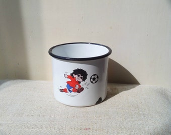 Kitchenalia - vintage white enamel cup mug football boy black margin- enamelware