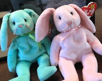 Rare set of  TY Hippity, Hoppity bunny beanie babies