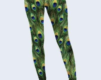 Peacock Leggings, Feathers Womens Leggings, Yoga Leggings, Green Leggings, Ladies Leggings, Fashion Leggings, Cool Leggings