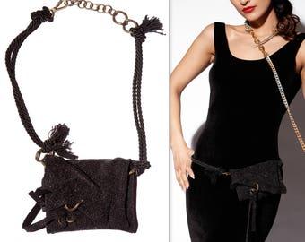 Waist Pouch Glitter Leather - Rope Belt Bag - Elegant Hip Bag - Bridesmaid Bum Bag - Unique Gift For Wife - BON BON GLITZ in Black & Bronze