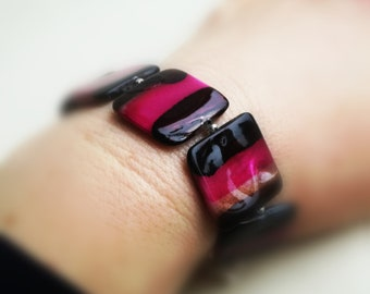 Stripy square shell bracelets in three colour options - plum, green or pink.
