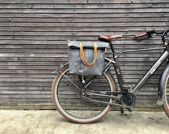 Bike pannier / diaper bag convertible into bicycle bag in waxed canvas with zipper closure / tote bag /  bike accessories