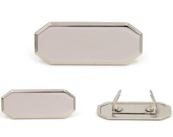 Blank Metal Name Tags Metal Labels Luggage Tags Studs Silver Tone B0302 10 pcs.