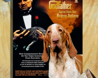 Bracco Italiano Print Fine Art Canvas - The Godfather Movie Poster   Perfect DOG LOVER GIFT Gift for Her Gift for Him Home Decor
