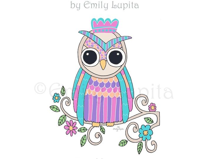 "Illustration Art Print ""Sweet Owl"" / Bird Portrait Wall Art / Nursery New Baby / Baby Shower Gift / Animal Artwork"