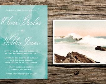 Vintage Waves Wedding Invitation Set // Beach Wedding Invitations Modern Beach Wedding Coastal Watercolor Aqua Romantic Bohemian Script