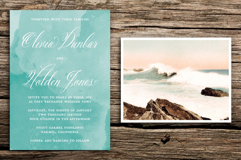 Vintage Waves Wedding Invitation Set // Beach Wedding