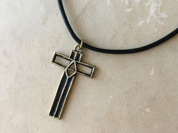 Fathers Day Leather, Leather Cross Necklace, Symbolic Jewelry, Christian Gifts