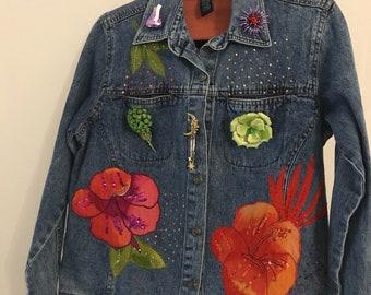 Upcycled denim embellished jacket