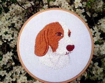 Hand embroidered pet portrait Custom dog portrait Dog lover gift for her Dog embroidery art Personalized gift for him Pet memorial wall art