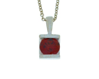 1 Ct Natural Garnet Round Pendant .925 Sterling Silver