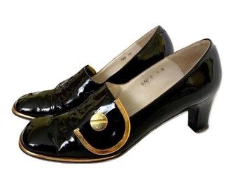 Vintage 60's Black Patent Leather Gold Button Pumps Heels, Black Patent Leather Heels