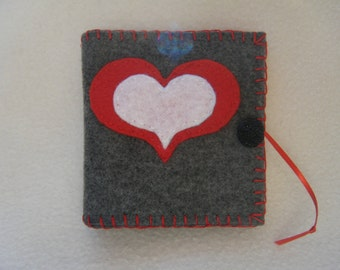Gray with Red and White Hearts Felt Needle/Pin Case
