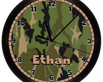 Personalized Green Camoflauge Camo Hunting Wall Clock