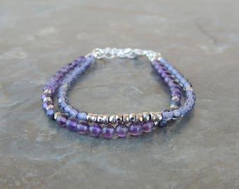 Gemstone Bracelet - Purple Bracelet for Women - Layered Bracelet - Amethyst Bracelet - February Birthstone Bracelet - Stacking Bracelet