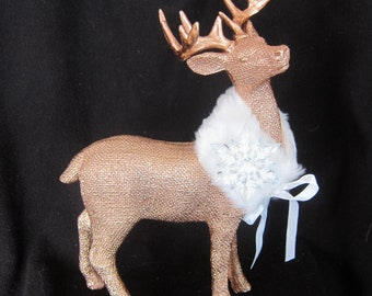 Christmas Winter White Bronze Deer Buck Rustic Snowflake Statue Home Decor