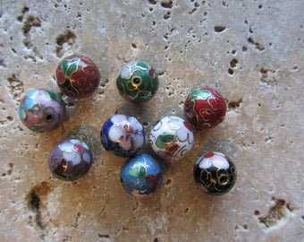Vintage Cloisonne Beads from the 70's 12mm