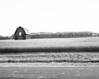Black and White Barn Landscape