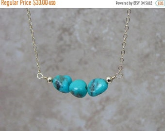 Turquoise Necklace, Natural Turquoise Jewelry, 14K Gold Filled Choker Necklace, Blue Mexican Turquoise, Layering, December Birthstone Gift