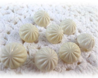 8 Fancy White Domed Shank Buttons for Sewing Crafts Scrapbooking Cardmaking Jewelry