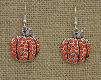 Pumpkin Rhinestone Earrings Fall Thanksgiving Jewelry