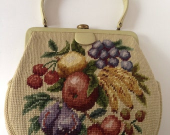 Beige Fruit Motif Needlepoint Handbag