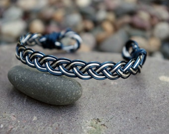 Blue and Silver Cuff Bracelet
