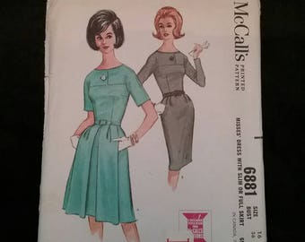 Vintage 1960's McCalls Dress sewing pattern Size 16