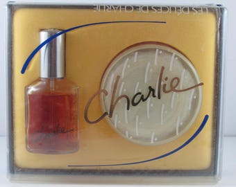 Charlie Delights, Concentrated Cologne/Perfume Spray 30g, Perfumed Dusting Powder 50g Set Vintage 1980s, NO. 09184