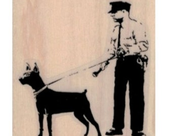 Banksy   graffiti   Banksy Cop with dog  rubber stamps  cling stamp unmounted or wood mounted 19492  stamping scrapbook supplies